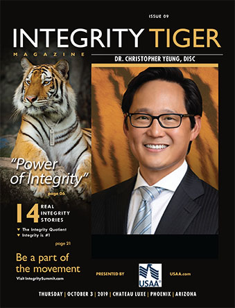 Dr. Christopher Yeung was honored as an Integrity Tiger